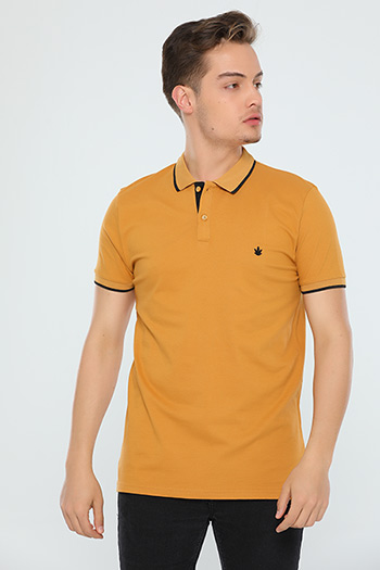 Polo Yaka Slim Fit Erkek T-shirt Camel