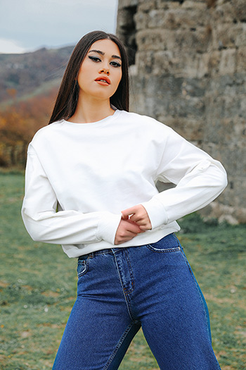 Düz Crop Sweatshirt 412791