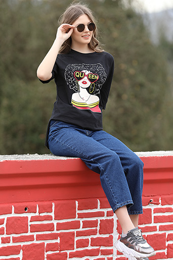 Pop-art Queen Baskılı Oversize T-shirt