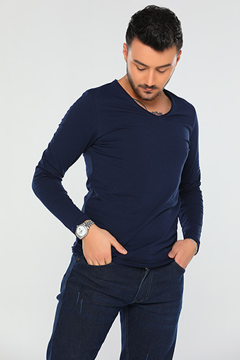 Lacivert V Yaka Slim Fit Erkek Body 434833